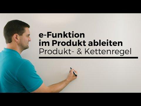 e-Funktion im Produkt ableiten, Produkt- und Kettenregel, Ableitung Exponentialfunktion