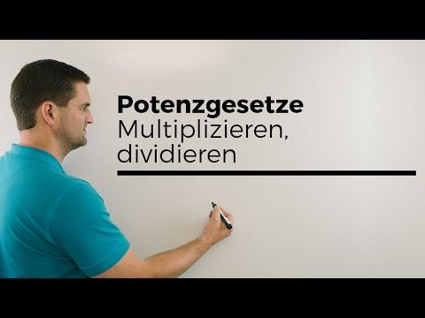 Potenzgesetze, multiplizieren, dividieren, gleiche Basis, potenzieren | Mathe by Daniel Jung