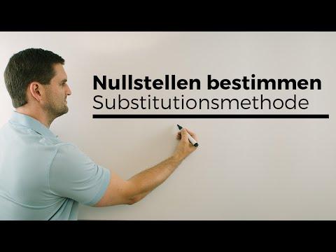Substitutionsmethode, Nullstellen bestimmen, biquadratische Gleichung lösen | Mathe by Daniel Jung