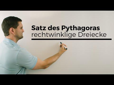 Satz des Pythagoras für rechtwinklige Dreiecke, Nachhilfe online, Hilfe in Mathe, Lernvideo