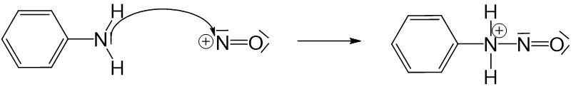 Anilinmoleküls an positiver Ladung des Nitrosylkations